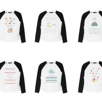Kid's Cute hand drawn doodle baby style Printed Cotton Raglan T-shirt  UTS_01