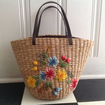 Vintage Pin-up Straw Wild Flowers Tote Bag Beach Souvenir