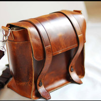Satchel Leather bag Cross Body for Men and Women  - Sand dune full thickness leather bag
