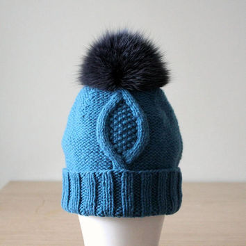 Fox fur pom pom hat, Wool and cashmere hat, Knit hat with brim, Fur bobble hat, Blue knit hat, Pom pom hat, Cashmere beanie, Cable knit hat