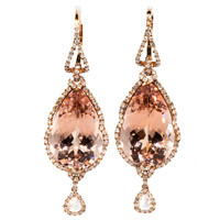 Pink Gold Morganite and Diamond Earrings