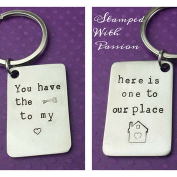 Key to My Heart, Key to My Place - Hand Stamped Stainless Steel Key Chain - Move in With Me Keepsake Keychain - Boyfriend/Girlfriend Gift