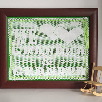 Gift For Grandparent / Crochet Art Wall Decor / We Love Grandma and Grandpa Appreciation Gift for Grandparents / Grandparents Day