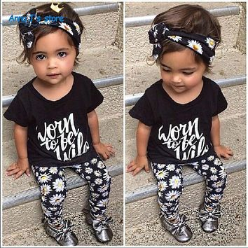 Floral daisy printed Toddler baby girl clothes set outfit + bandage Set