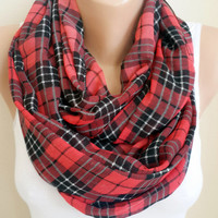 Plaid Red infinity Scarf, Lightweight Soft, Circle Scarf, Accessories