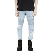 Destroyed Slim Denim Biker Jeans