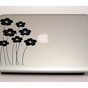 MACBOOK IPAD LAPTOP VINYL STICKER DECAL CUSTOM SIZE FLOWERS FLORAL DESIGN T477