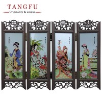 Home Decor Chinese Antique  Folding Screen miniature  table Ornaments Vintage Glass room divider decorative partition screens