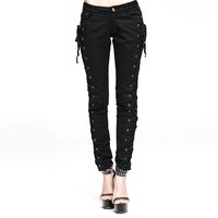 Steel Master Steampunk Women's Cotton Pants Gothic Lace-up Black Toursers