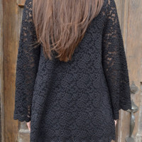 Lace For Days Cardigan: Black | Hope's