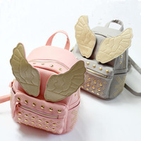 NEW Cool! Child Angel Wings Backpacks Children Rivet Bag PU Baby School Backpack Kids Bag Free shipping