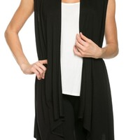 Draped Open Front Jersey Knit Vest