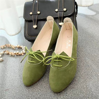 Fashion Bow Lace Up Female Spring Autumn Slip On Flats Shoes Women Soft Zapatos Mujer Ladies Work Shoes Casual Flats W09