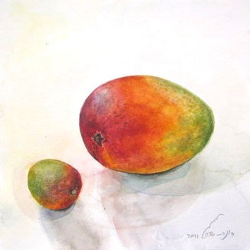 ON SALE. Fruit Watercolor Organic Mango Print  Painting Nature kitchen Orange Red  and Green Bright Colors Still life