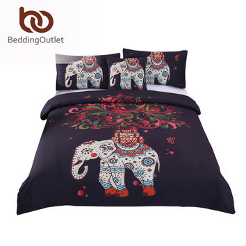 BeddingOutlet Boho Bedding Set Elephant Tree Black Printed Bohemia Duvet Cover Bedspread Twin Full Queen King Factory