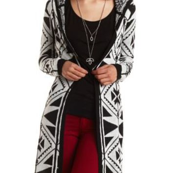 Tribal Print Hooded Duster Cardigan by Charlotte Russe - Black Combo