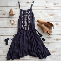 Embroidered Cutout Top in Navy