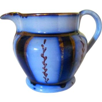 Antique Flow Blue and Copper Lustre Wagon Wheel Cream Pitcher