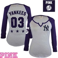 New York Yankees Victoria's Secret PINK® Split Neck Raglan Tee - MLB.com Shop