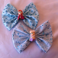 Set of 2 Disney Frozen Inspired Elsa and Anna Large Fabric Hair Bows