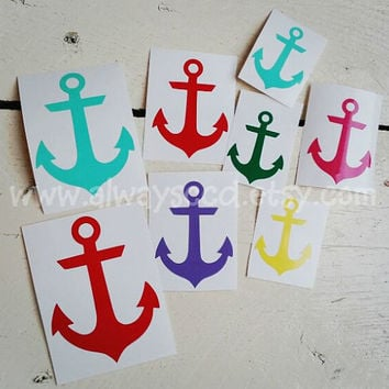Nautical Anchor Vinyl Decal sticker for laptop, cars, cell phone, notebooks, agendas, camelbak