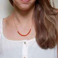 VALENTINE'S DAY, Carnelian Necklace, Hand Knotted Necklace Red Silk Cord Necklace