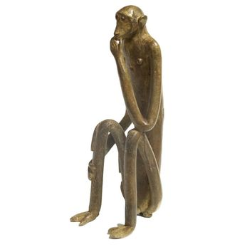 Large Seated Monkey with Hand on Chin Vintage African Bronze Sculpture
