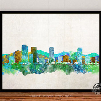Denver Skyline Watercolor Poster, Colorado Print, Cityscape, City Painting, State, Illustration Art Paint, Giclee Wall, Home Decor