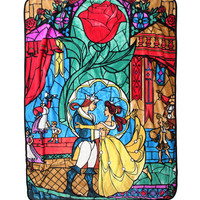 Disney Beauty And The Beast Stained Glass Throw Blanket