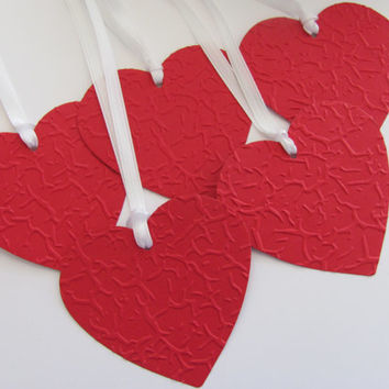 Heart Embossed Gift Tags, Set of 5 Red Heart Tags, Favor Tags, Tags