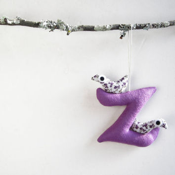 Letter Z with birds Christmas ornament Felt Decoration by Intres