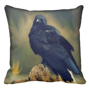 Black Raven Throw Pillow
