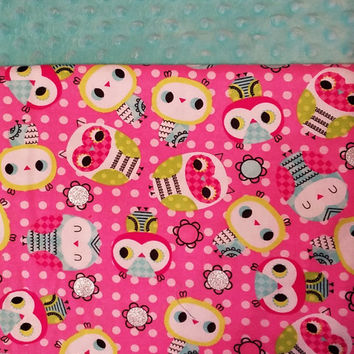 Personalized Glittered Owl Blanket, Owl Blanket, Minky Blanket,Girl Bedding
