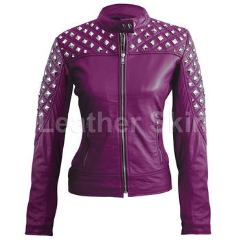 Women Purple Spike Stud Leather Jacket
