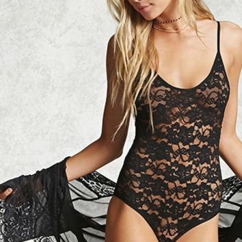 Sheer Lace-Up Back Bodysuit