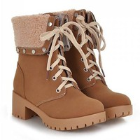 Brown Turnover Design Lace Up Boots With Rivets