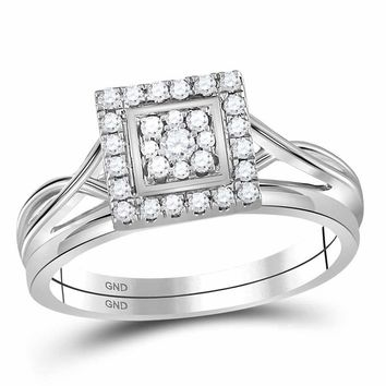 10kt White Gold Womens Round Diamond Square Cluster Bridal Wedding Engagement Ring Band Set 1/3 Cttw - FREE Shipping (US/CAN)