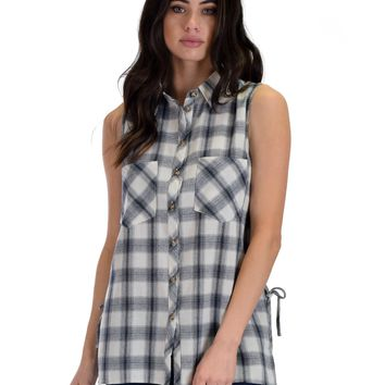 SL4491 White Sleeveless Plaid Shirt With Lace-Up Sides