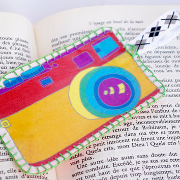 Camera rainbow Fabric Bookmark Unusual Bookmark Retro Embroidery