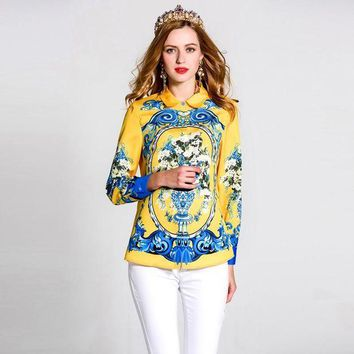 DCCKON3 RED ROOSAROSEE 2018 Spring Summer Women Turn Down Collar Flower Printing Long Sleeve Blouse Fashion Top High Quality Shirt