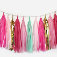 Bubblegum Dreams - Pink, Mint, Gold Tassel Garland - Party Decoration // Wedding Decor // Kid's Room Decoration