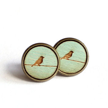 Tiny Stud Earrings, Bird Earrings, Mint Earrings, Spring Earrings