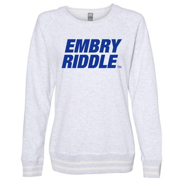 Official NCAA Embry Riddle Daytona Eagles PPERAUD04 Women's Crewneck Sweatshirt with White Striped Edges