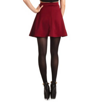 SOLID HIGH WAIST SKATER SKIRT