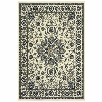 Marina Ivory Navy Oriental Medallion Traditional Rug