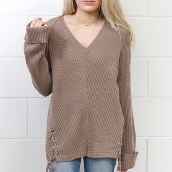 Knit V-neck Sweater w/ Drawstring Details {Mocha} EXTENDED SIZES