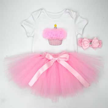 Christmas Baby Girl 3pcs Clothing Sets Infant Cotton Romper+Tulle Skirt+Headband Halloween Costumes Party Bebe Birthday Vestidos