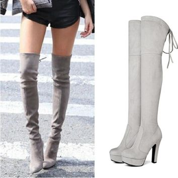 NEMAONE Plus size 34-43 new fashion platform over the knee boots high heels round toe thigh high boots spring autumn women boots