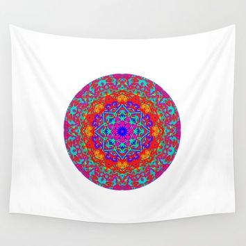 Colorful Mandala Pattern Design Wall Tapestry by My Blue Skye