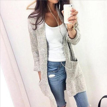 Large pocket grey knit cardigan